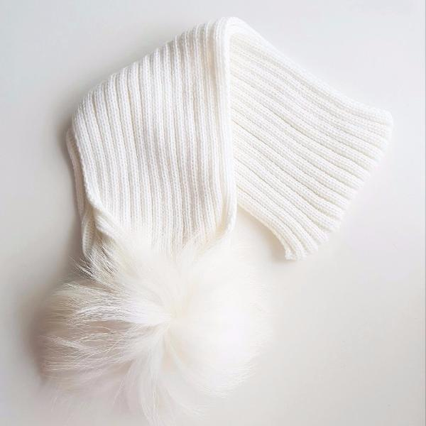 PYC luxury fur pom pom scarf in winter white