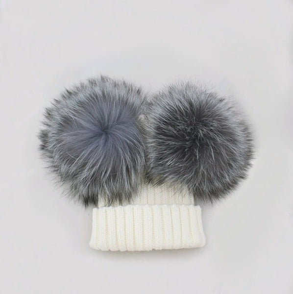 PYC luxury fur double pom pom hat in winter white. Limited Edition