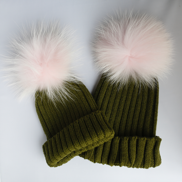 PYC luxury fur pom pom hat in khaki. Matching adult and kids hat