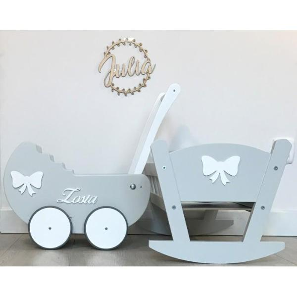 *BUNDLE DEAL* Matching Wooden Pram & Cot - Pretty Yum Co