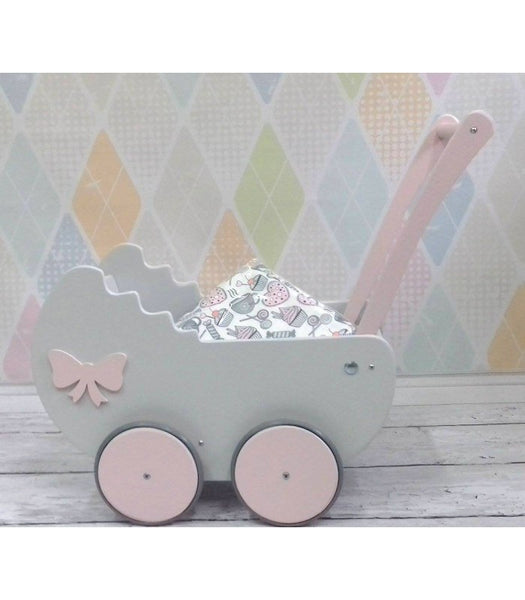 Wooden Pram - Light Grey - Pretty Yum Co