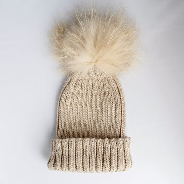 PYC luxury fur pom pom hat in oatmeal