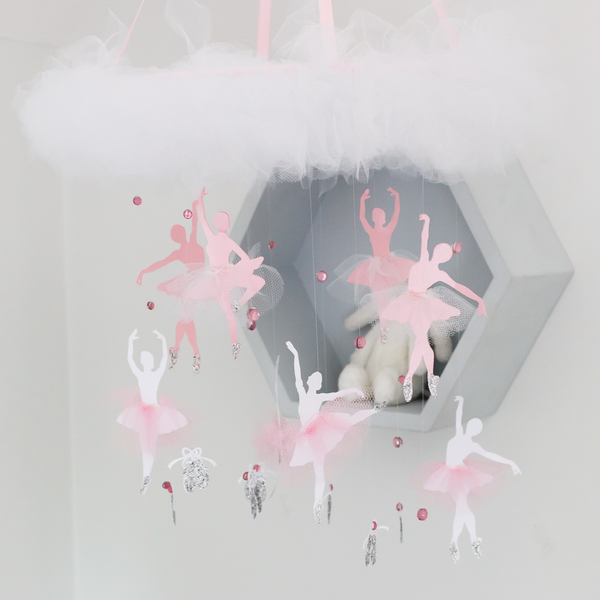 pyc pretty yum co ballerina baby mobile. nursery decor. pink