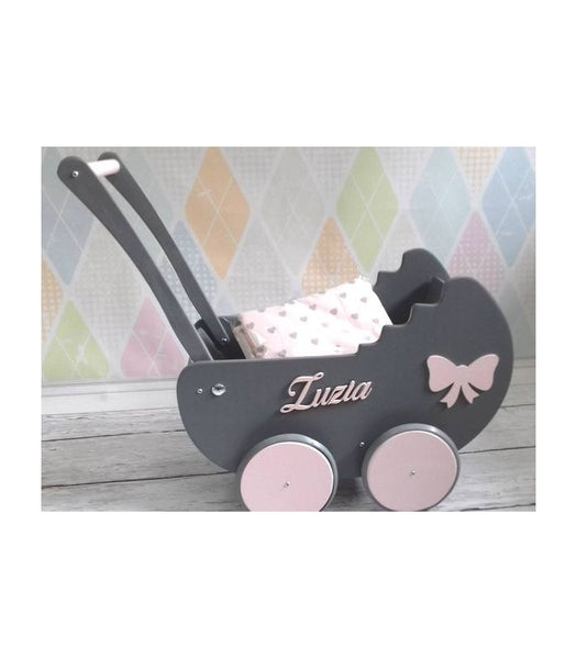 Wooden Pram - Dark Grey - Pretty Yum Co