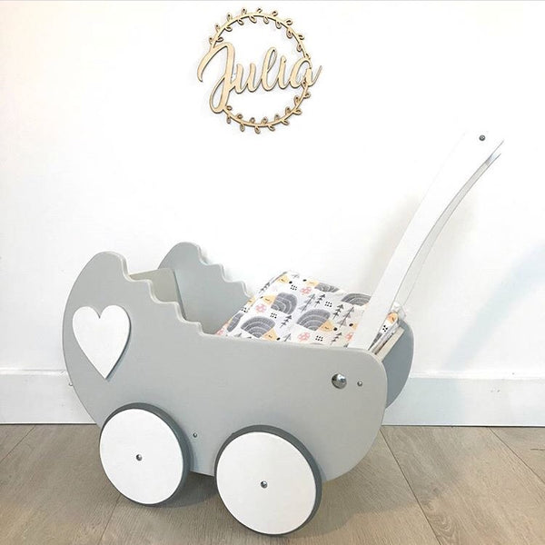 Wooden Pram - Light Grey