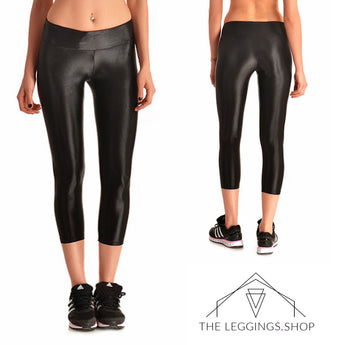 Black High Shine Athletic Capri Leggings - The Leggings Shop