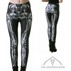 Black Steel Skeleton Leggings - The Leggings Shop