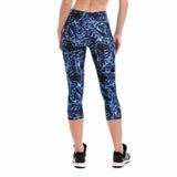 Blue Leaves Capri Leggings - The Leggings Shop