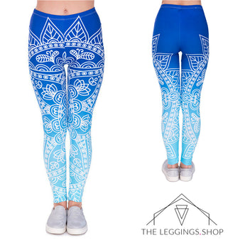 Blue Ombre Mandala Leggings - The Leggings Shop