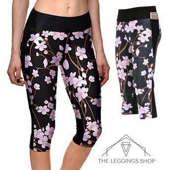 Cherry Blossom Athletic Capri Leggings - The Leggings Shop