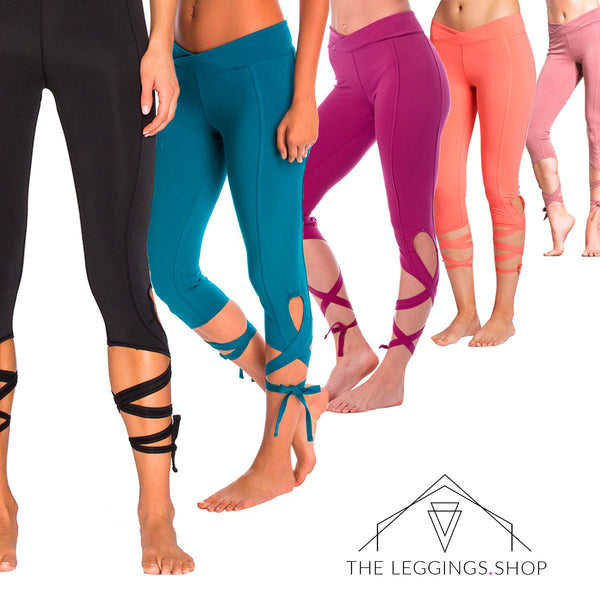 Criss Cross Ballet Tie Leggings - The Leggings Shop