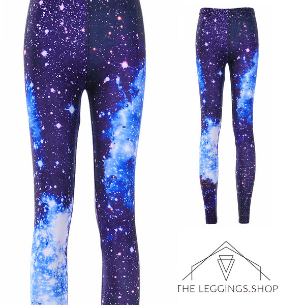 Deep Space Blue Galaxy Leggings - The Leggings Shop