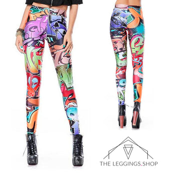 Graffiti Tag Leggings - The Leggings Shop