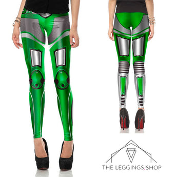 Green Robot Superhero Leggings - The Leggings Shop