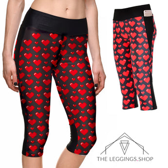 Hearts Athletic Capri Leggings - The Leggings Shop
