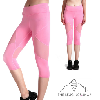 Pink Mesh Capri Leggings - The Leggings Shop