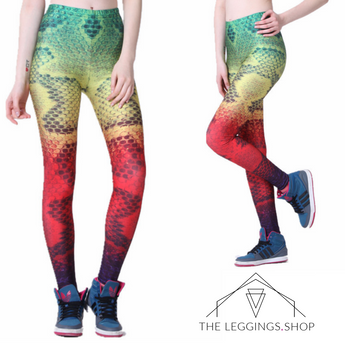 Rasta Snakeskin Leggings