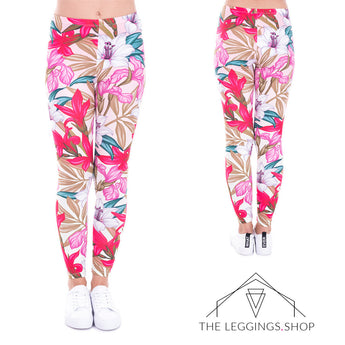 Lily Flower Leggings - The Leggings Shop
