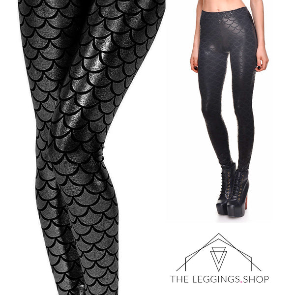 Mermaid in Black Leggings - The Leggings Shop