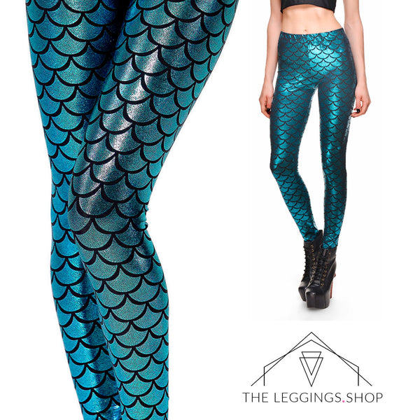 Mermaid in Teal Leggings - The Leggings Shop