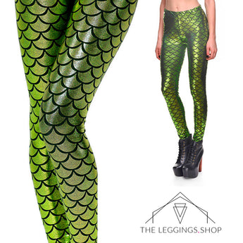 Mermaid in Lime Green Leggings - The Leggings Shop
