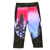 Pink Twilight Trees Athletic Capri Leggings - The Leggings Shop