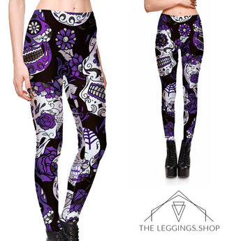 Purple Garden of Sugar Skulls Leggings - The Leggings Shop