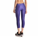 Purple High Shine Athletic Capri Leggings - The Leggings Shop