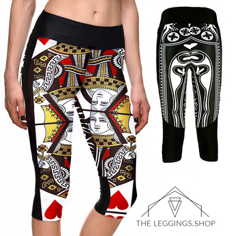 Queen of Hearts Athletic Capri Leggings - The Leggings Shop