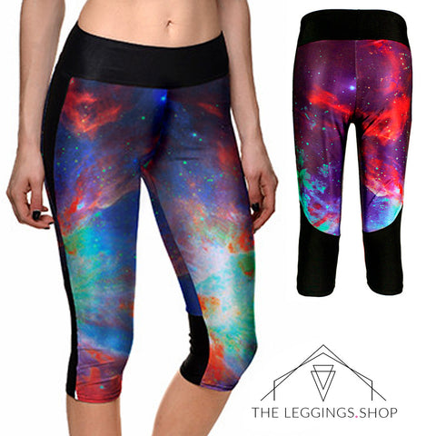 Rainbow Galaxy Athletic Capri Leggings - The Leggings Shop