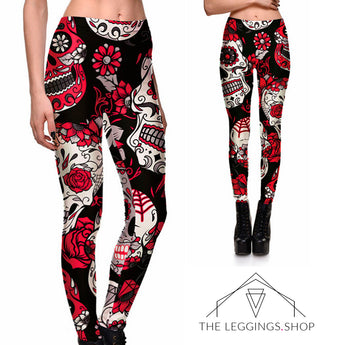 Red Garden of Sugar Skulls Leggings - The Leggings Shop
