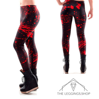 Red Splatter Paint Leggings - The Leggings Shop
