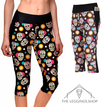 Sugar Skulls Athletic Capri Leggings - The Leggings Shop