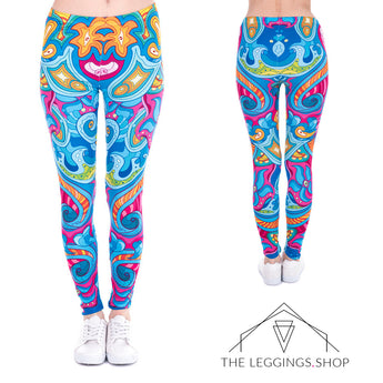 Symmetrical Sea Flowers and Waves Leggings - The Leggings Shop