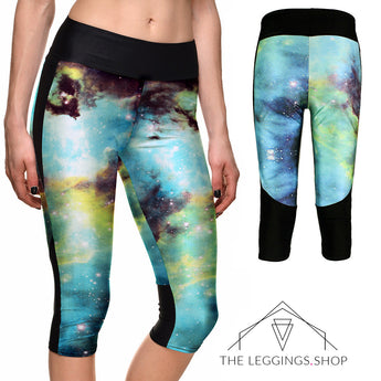 Teal Galaxy Athletic Capri Leggings - The Leggings Shop