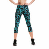 Teal Leopard Print Capri Leggings - The Leggings Shop