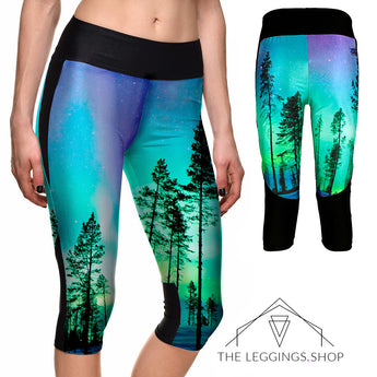Twilight Trees Athletic Capri Leggings - The Leggings Shop