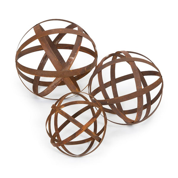 Rust Ball Set of 3 | Garden Decor