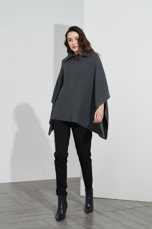 Zip Collar Poncho Charcoal - Tirelli