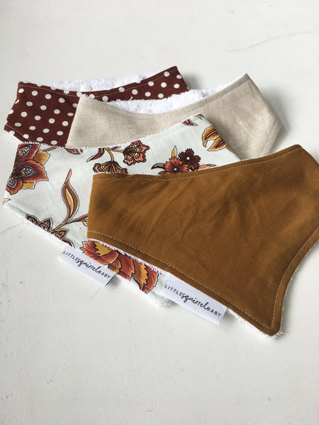 Handmade Linen Fabric Dribble Bibs - Little Squirrel