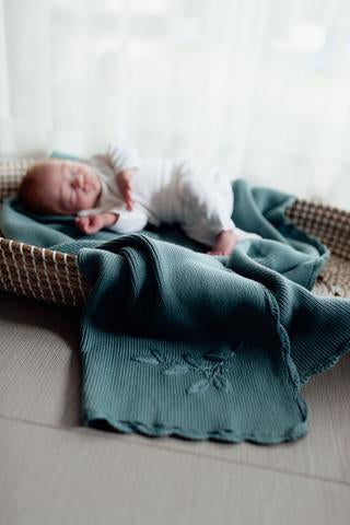 Heirloom Embroidered Blanket | Teal | Pop Ya Tot