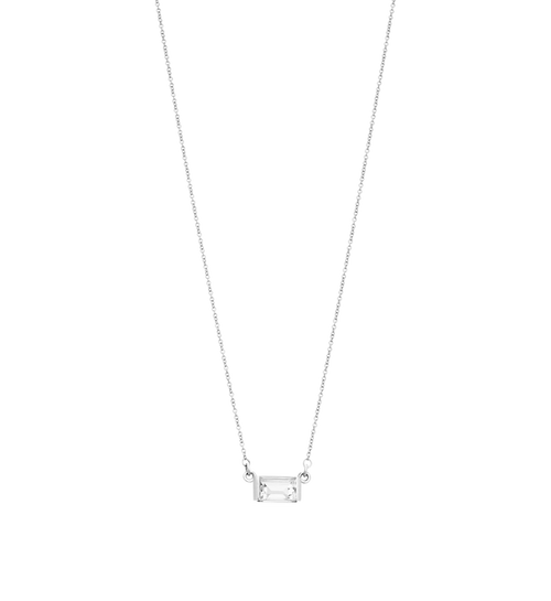 Baguette Necklace White Topaz Sterling Silver | Kirstin Ash