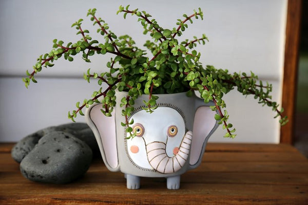 Grey Elephant Resin Pot Planter