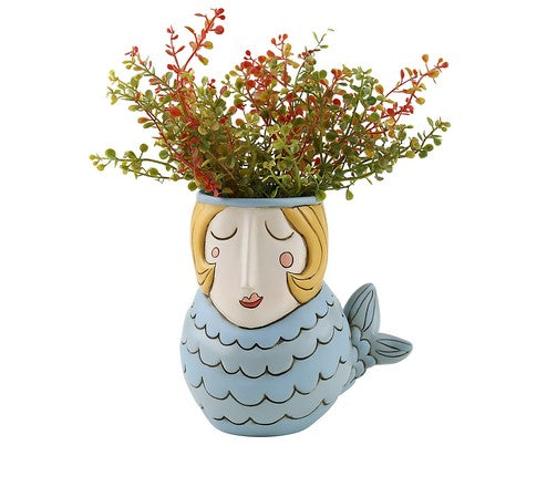 Blue Mermaid Pot Planter