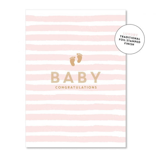 Stripey Baby Girl - Just Smitten Greeting Card