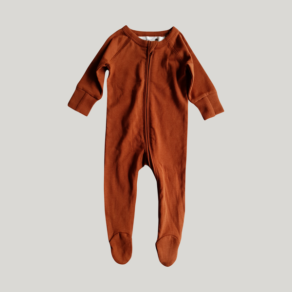 Organic Cotton Zip Growsuit Long Sleeve Rust | Susukoshi