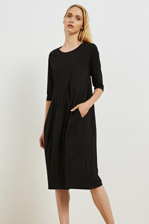3/4 Sleeve Diagonal Seam Dress Black  - Tirelli