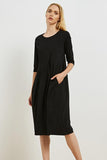 3/4 Sleeve Diagonal Seam Dress Black  | Tirelli