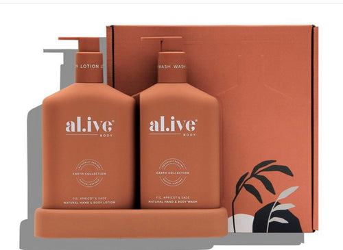 Wash & Lotion Duo + Tray | Fig, Apricot & Sage | Al.ive Body