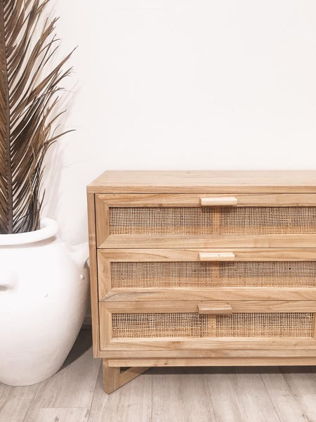 Seville Woven Timber Darwers Buffet Console